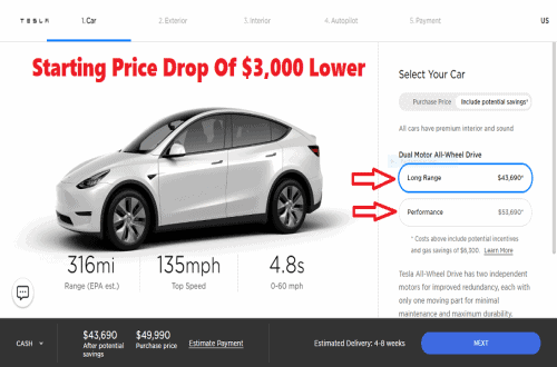 Tesla Model Y Electric SUV Starting Price Drop Of $3,000 Lower Due To COVID-19